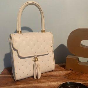 Vintage cream polka dot crossbody purse